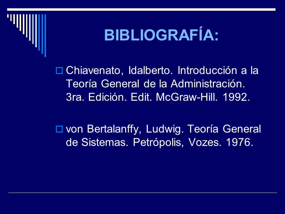 BIBLIOGRAFÍA: Chiavenato, Idalberto. Introducción a la Teoría General de la Administración. 3ra. Edición. Edit. McGraw-Hill. 1992.