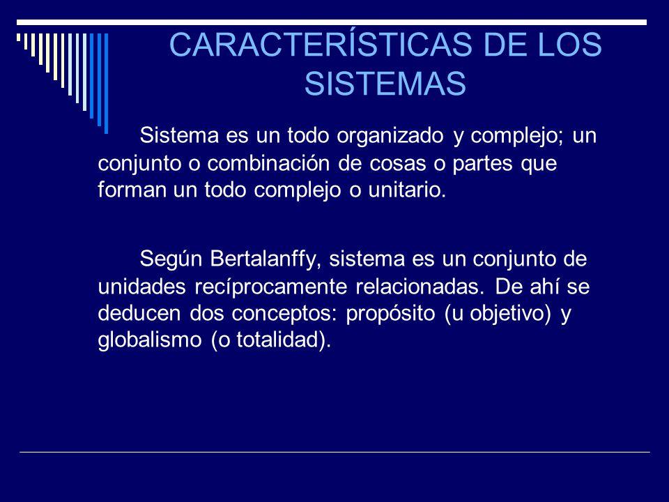 CARACTERÍSTICAS DE LOS SISTEMAS