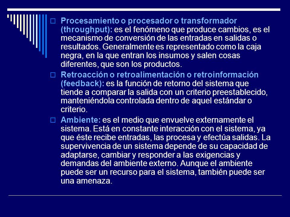 Procesamiento o procesador o transformador (throughput): es el fenómeno que produce cambios, es el mecanismo de conversión de las entradas en salidas o resultados. Generalmente es representado como la caja negra, en la que entran los insumos y salen cosas diferentes, que son los productos.