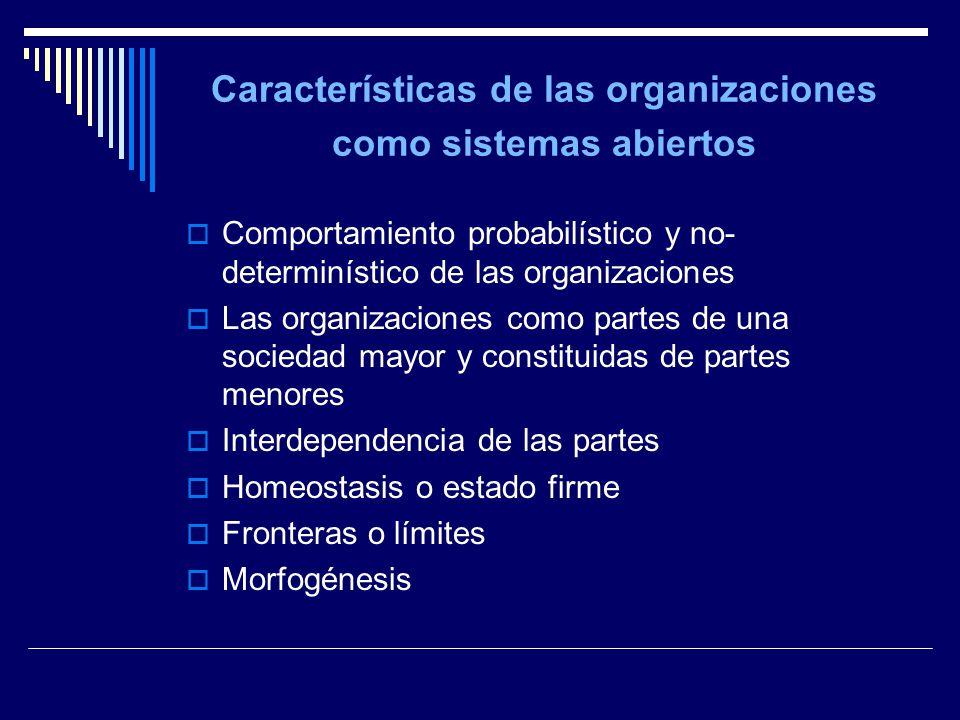 Características de las organizaciones como sistemas abiertos