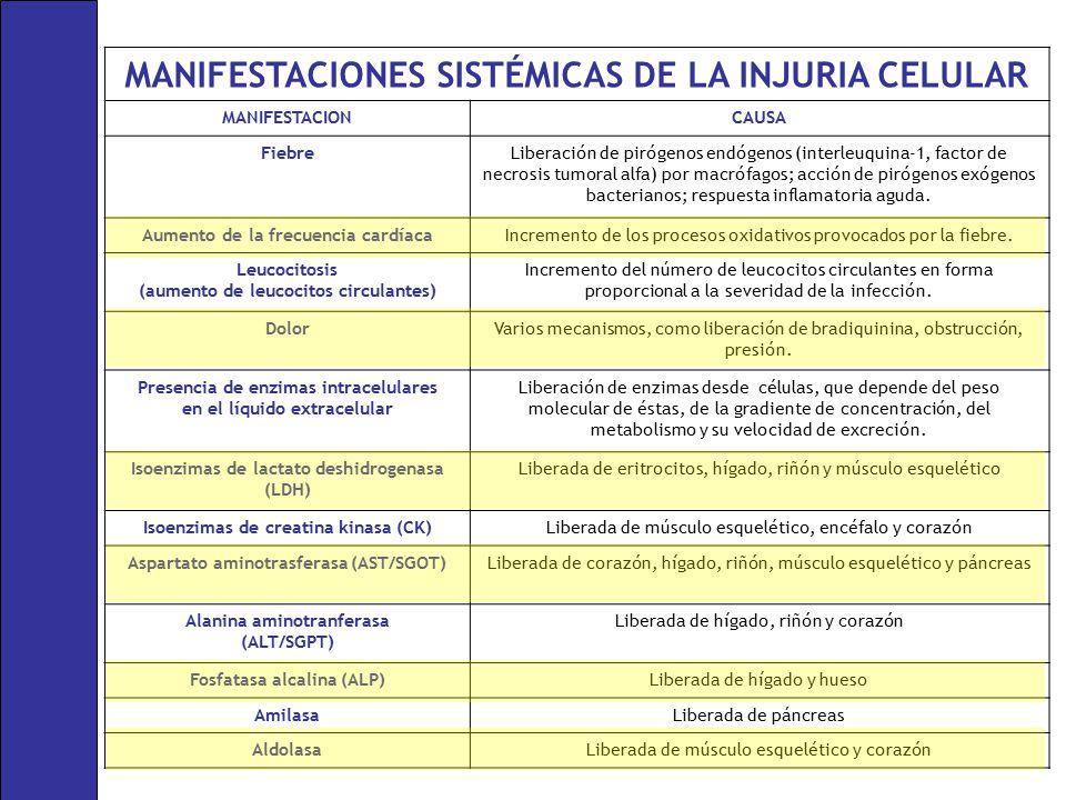 MANIFESTACIONES SISTÉMICAS DE LA INJURIA CELULAR