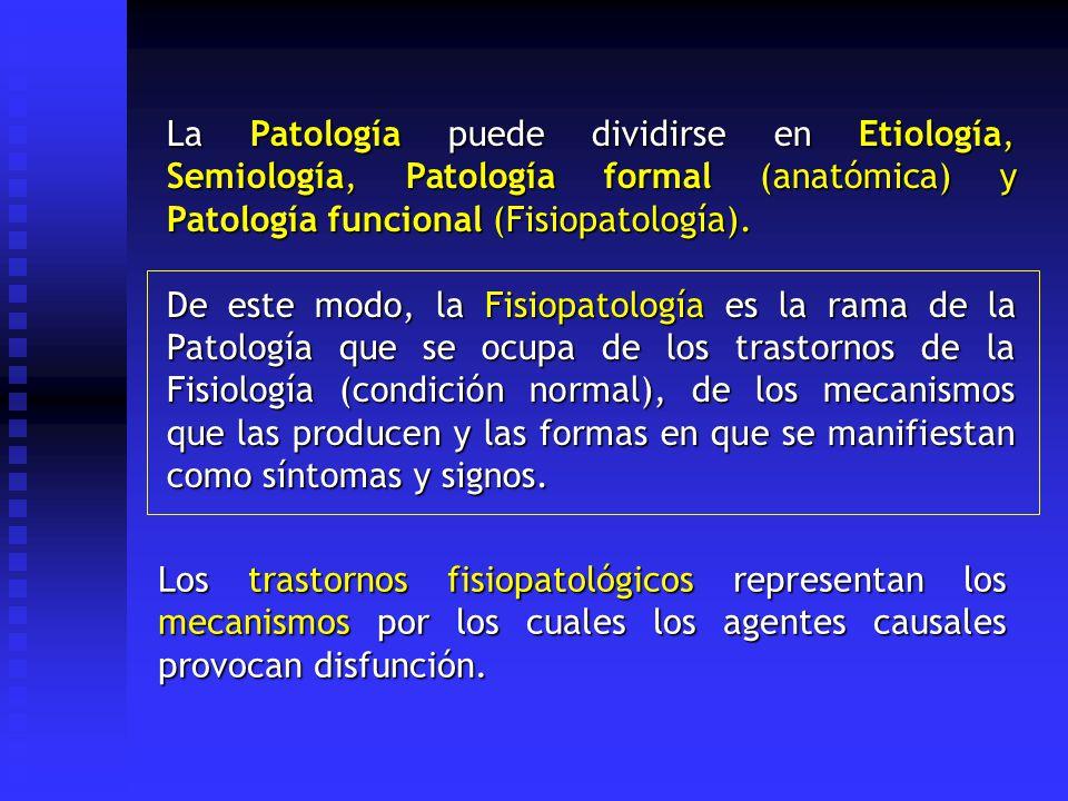 La Patología puede dividirse en Etiología, Semiología, Patología formal (anatómica) y Patología funcional (Fisiopatología).