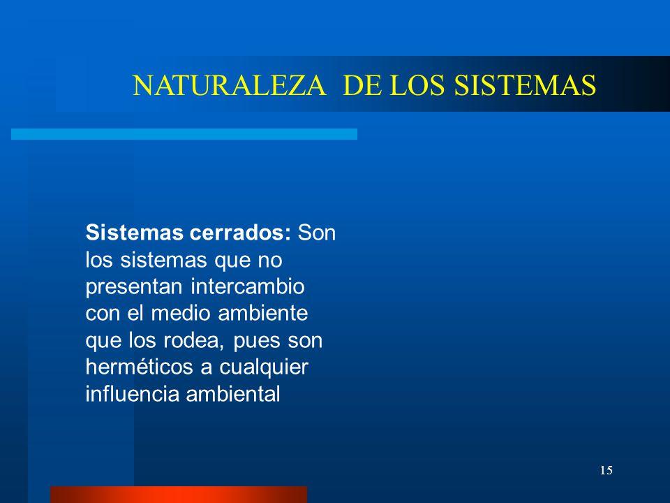 NATURALEZA DE LOS SISTEMAS