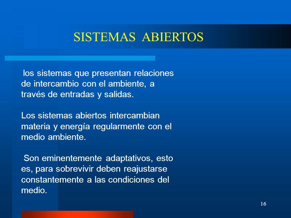 SISTEMAS ABIERTOS los sistemas que presentan relaciones de intercambio con el ambiente, a través de entradas y salidas.