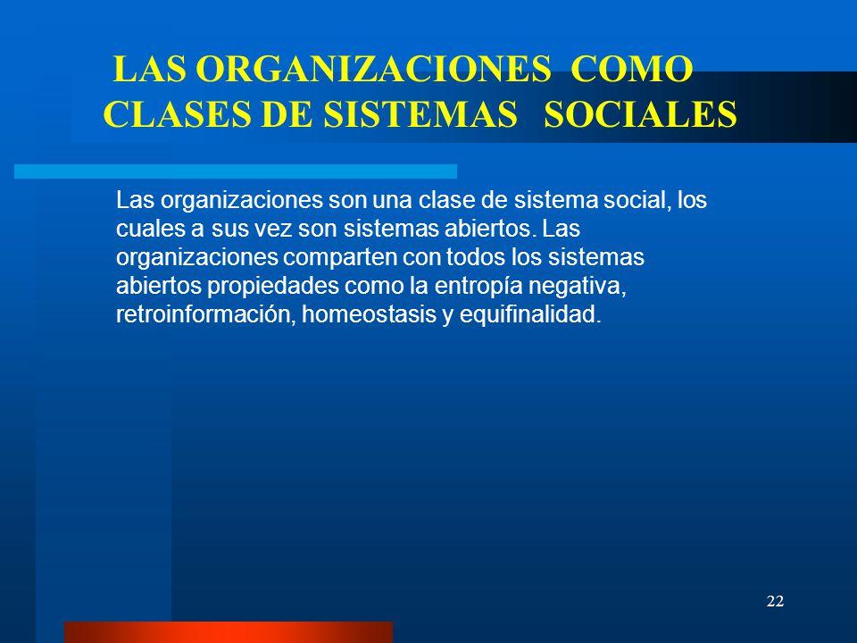 LAS ORGANIZACIONES COMO CLASES DE SISTEMAS SOCIALES