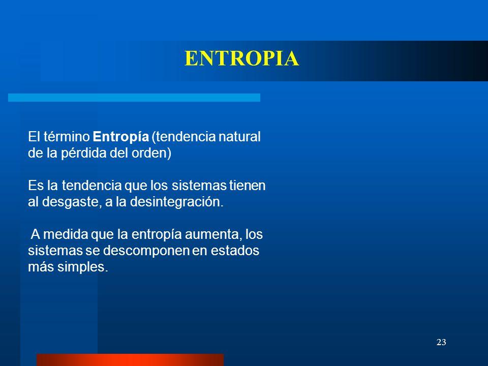 ENTROPIA El término Entropía (tendencia natural de la pérdida del orden) Es la tendencia que los sistemas tienen al desgaste, a la desintegración.