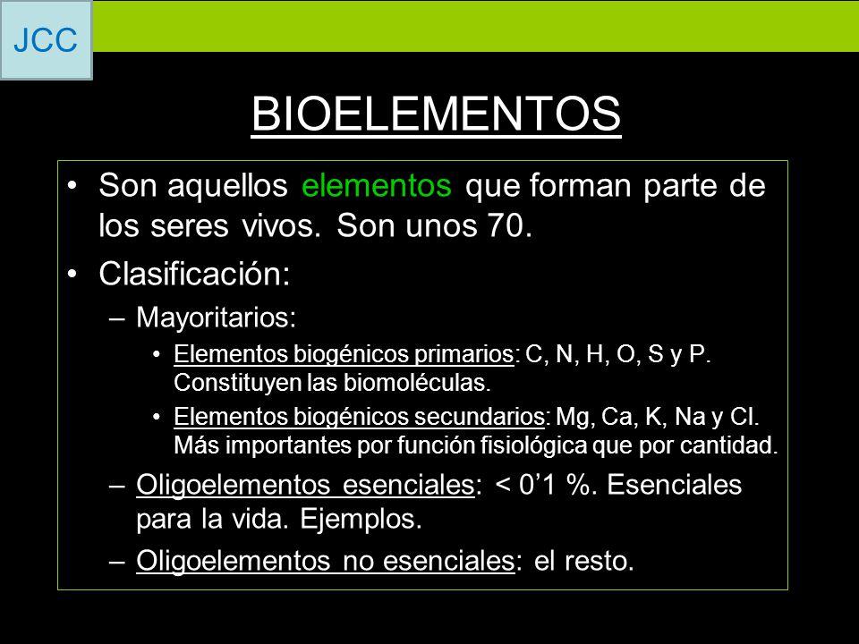 BIOELEMENTOS Son aquellos elementos que forman parte de los seres vivos. Son unos 70. Clasificación: