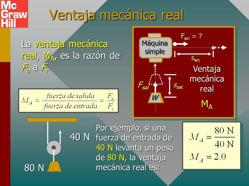 Ventaja mecánica real Máquina simple. sen. ssal. W. Fen = Ventaja mecánica real. Fsal. MA.