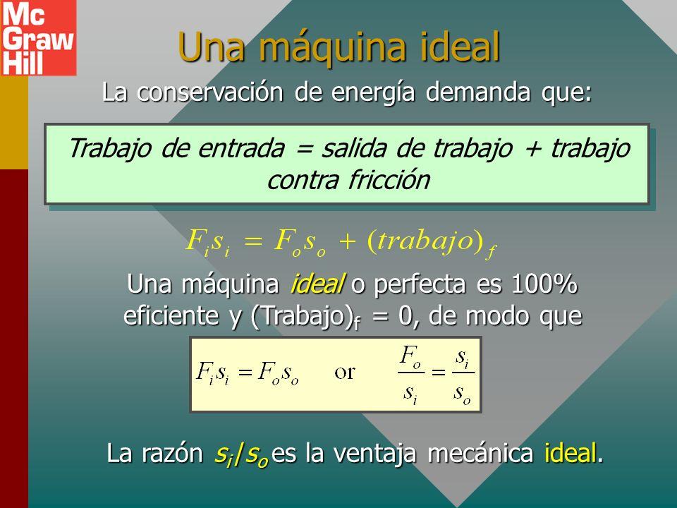 Una máquina ideal La conservación de energía demanda que: