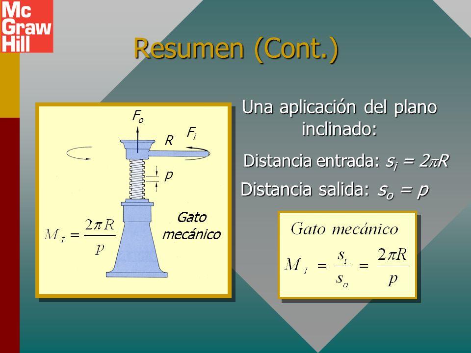 Resumen (Cont.) Una aplicación del plano inclinado: