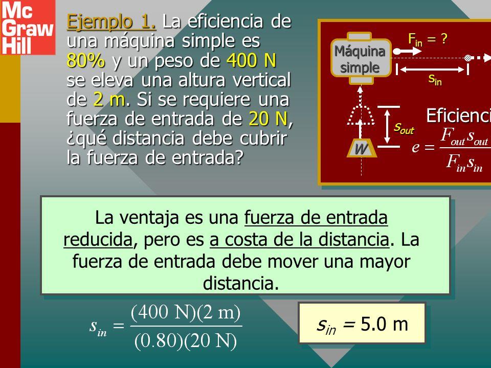 La eficiencia es 80% o e = 0.80, por tanto