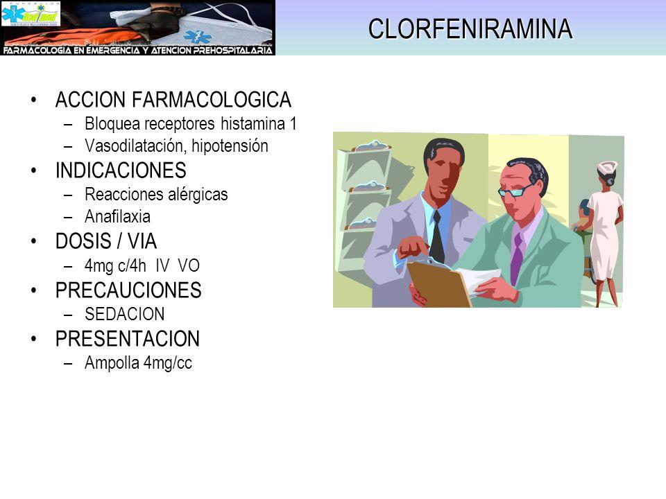 CLORFENIRAMINA ACCION FARMACOLOGICA INDICACIONES DOSIS / VIA