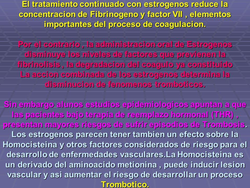 El tratamiento continuado con estrogenos reduce la concentracion de Fibrinogeno y factor VII , elementos importantes del proceso de coagulacion.