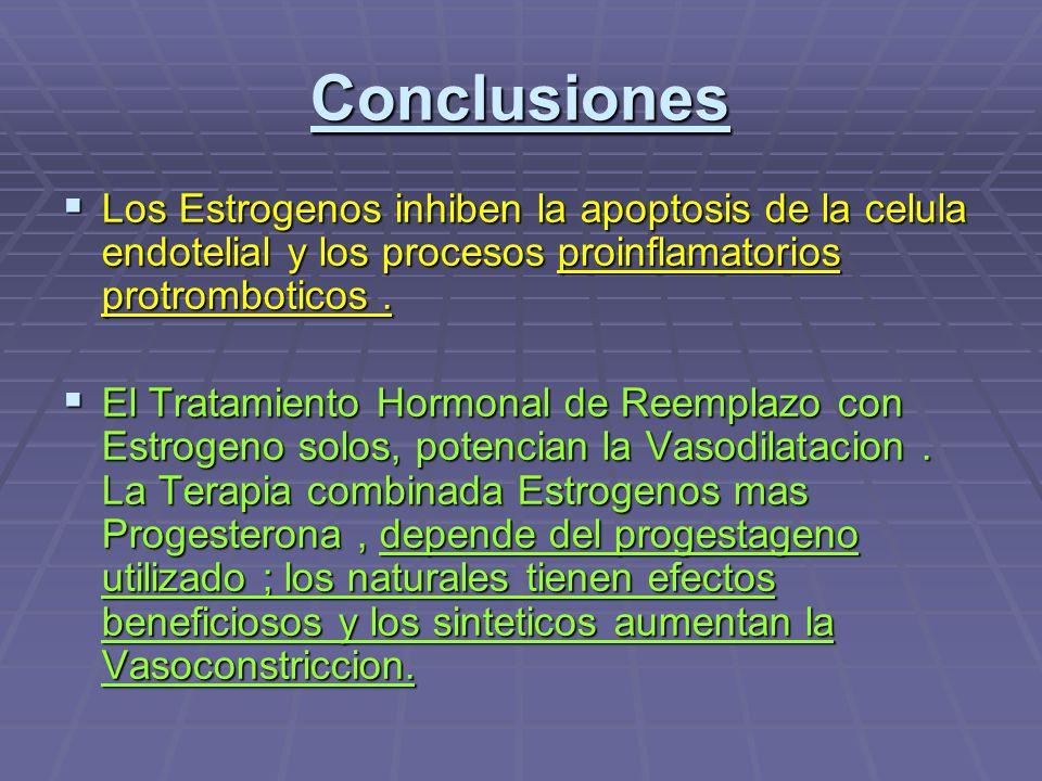 Conclusiones Los Estrogenos inhiben la apoptosis de la celula endotelial y los procesos proinflamatorios protromboticos .