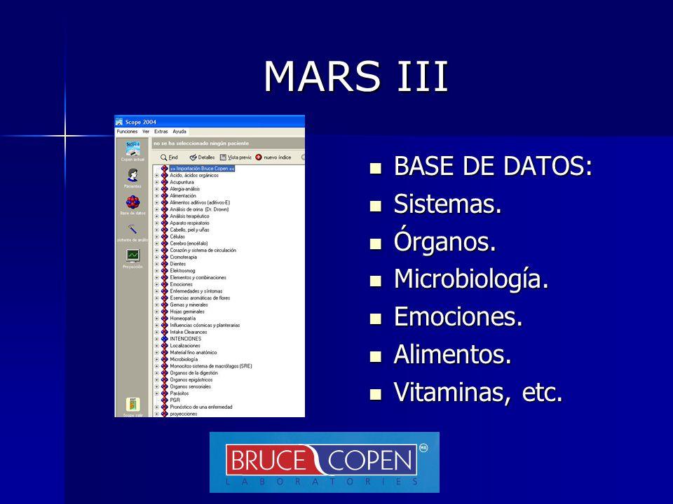MARS III BASE DE DATOS: Sistemas. Órganos. Microbiología. Emociones.