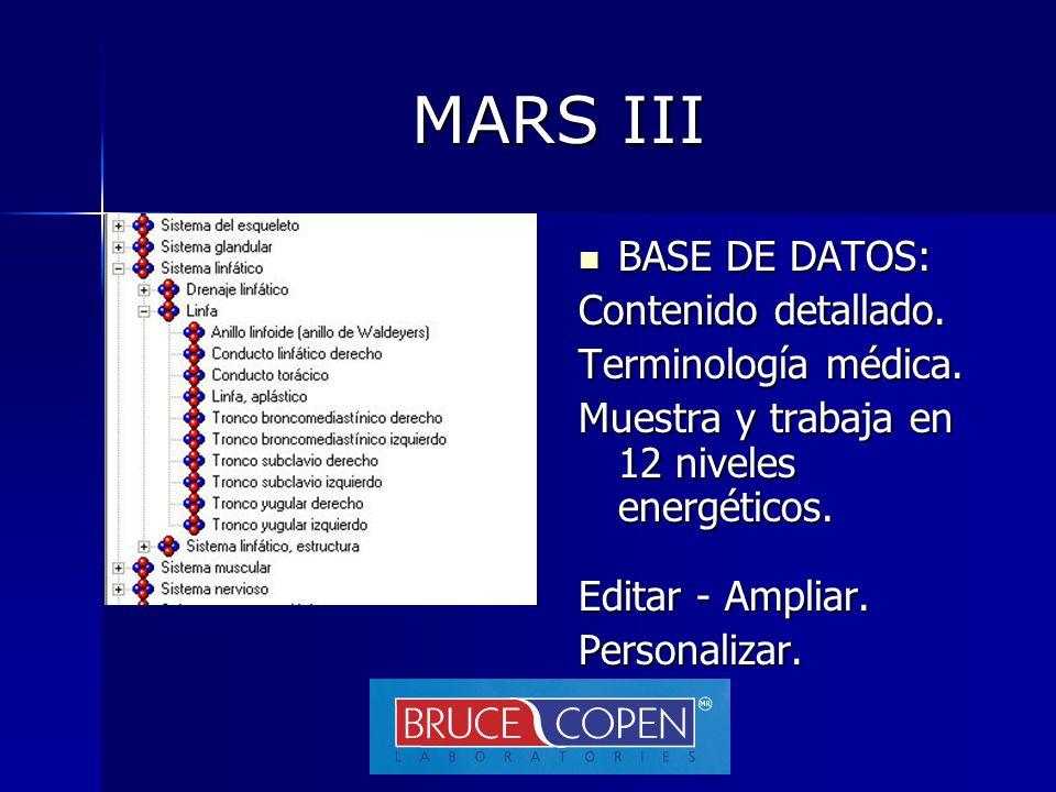 MARS III BASE DE DATOS: Contenido detallado. Terminología médica.