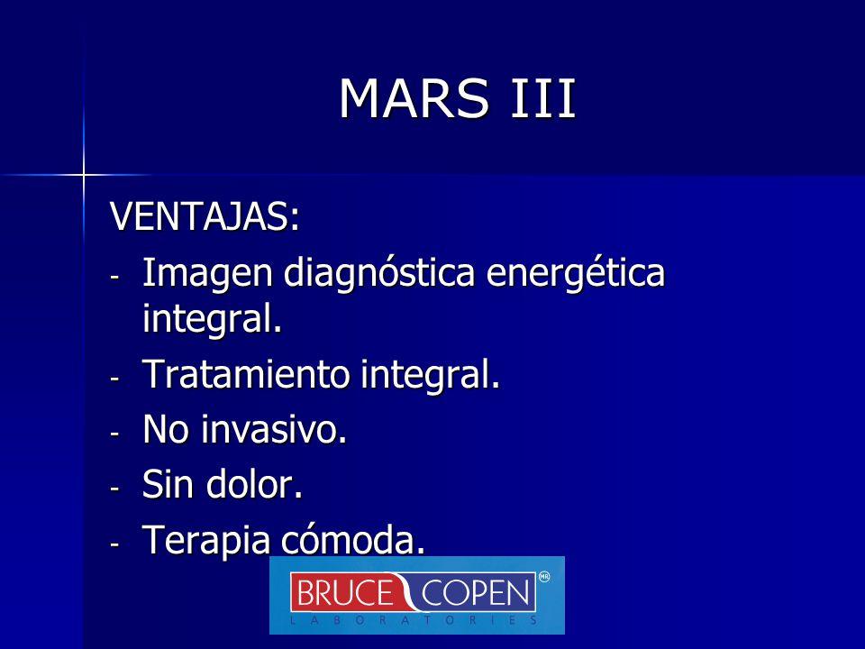 MARS III VENTAJAS: Imagen diagnóstica energética integral.