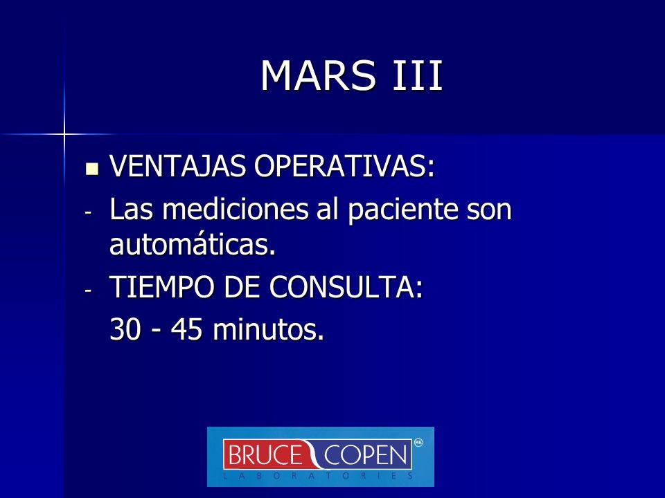 MARS III VENTAJAS OPERATIVAS: