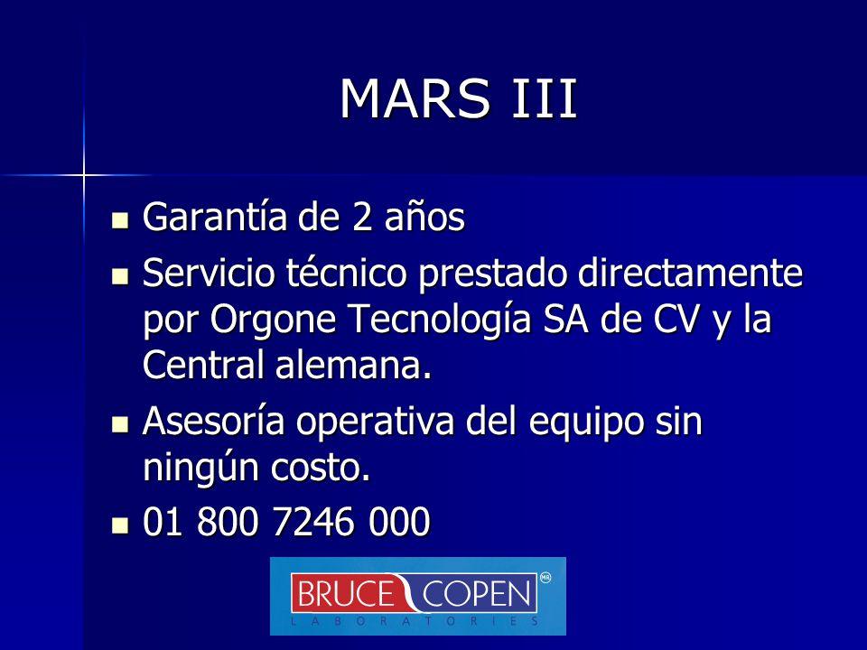 MARS III Garantía de 2 años