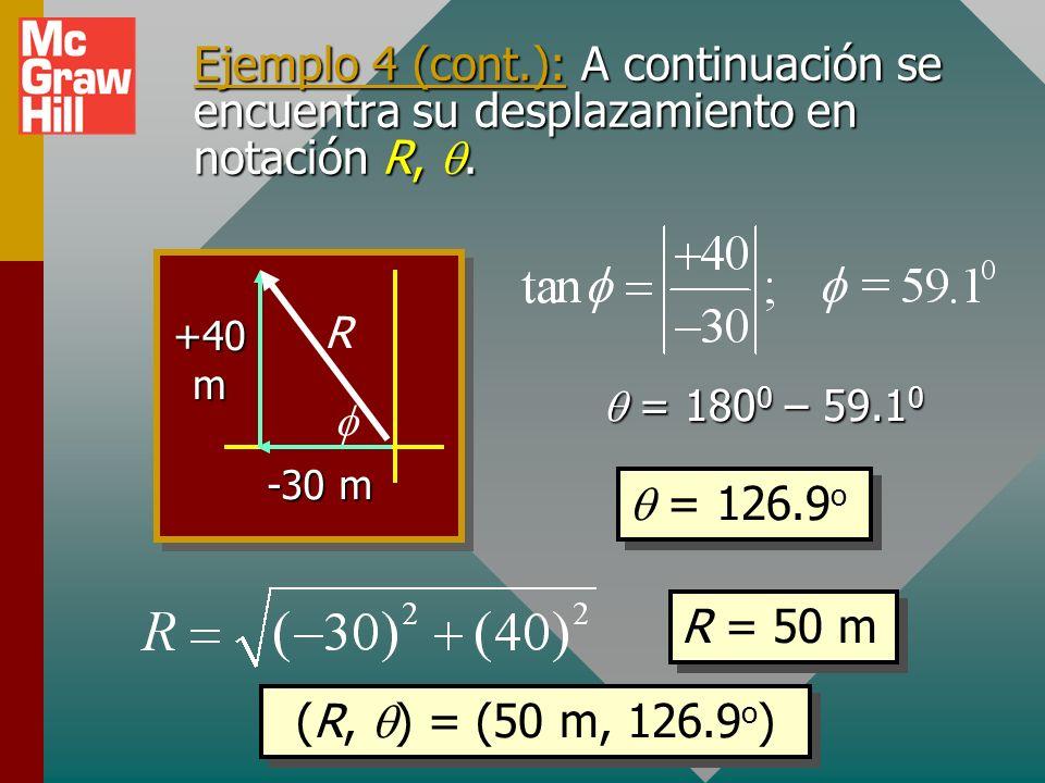 Ejemplo 4 (cont.): A continuación se encuentra su desplazamiento en notación R, q.