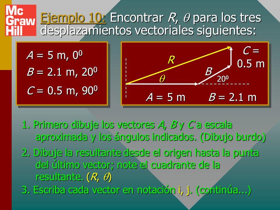 Ejemplo 10: Encontrar R, q para los tres desplazamientos vectoriales siguientes: