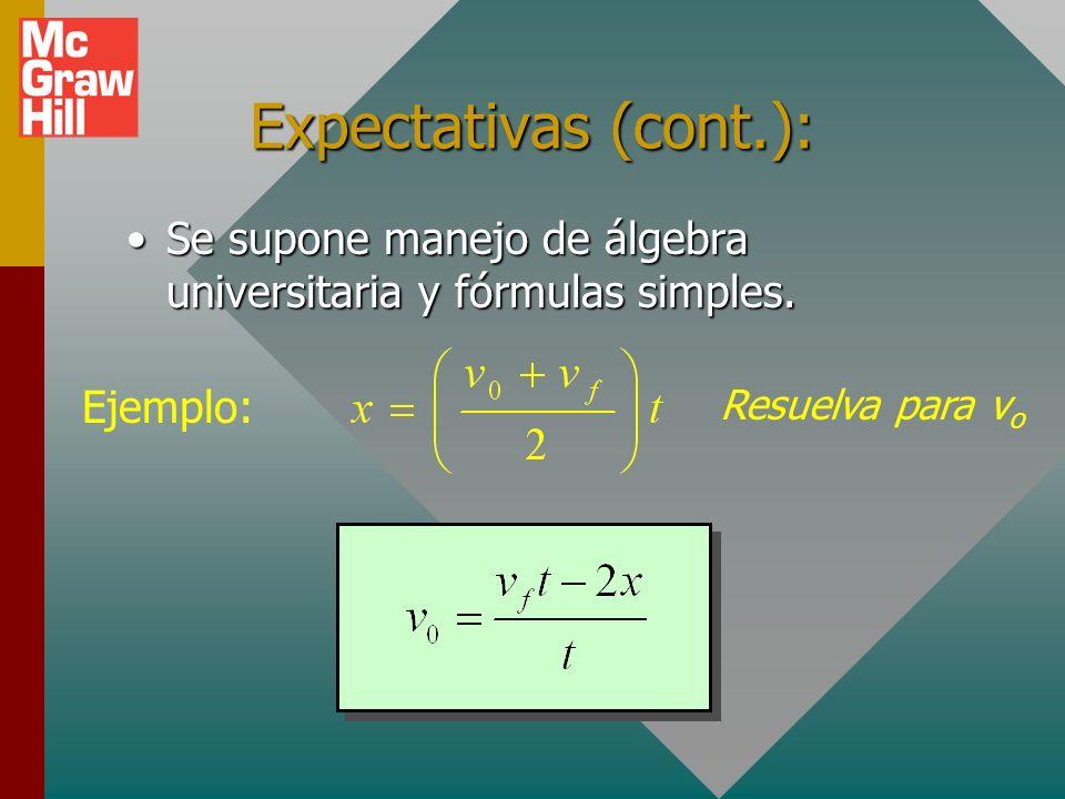 Expectativas (cont.):Se supone manejo de álgebra universitaria y fórmulas simples.