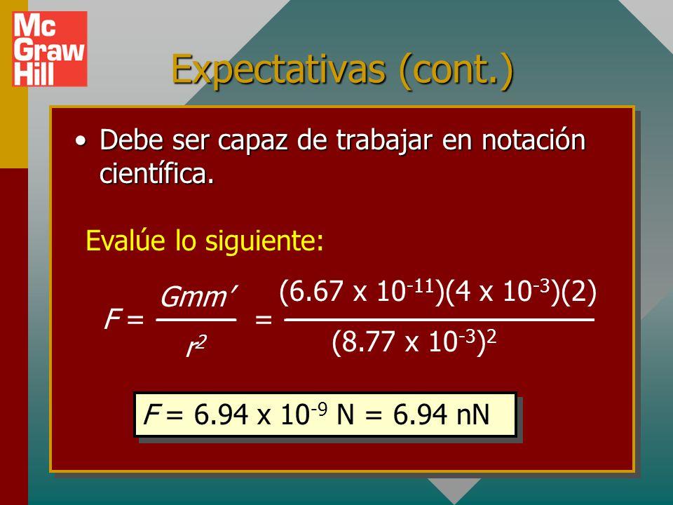 Expectativas (cont.) Debe ser capaz de trabajar en notación científica. Evalúe lo siguiente: (6.67 x 10-11)(4 x 10-3)(2)
