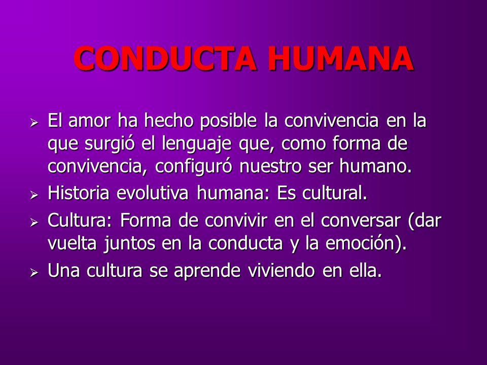 CONDUCTA HUMANA El amor ha hecho posible la convivencia en la que surgió el lenguaje que, como forma de convivencia, configuró nuestro ser humano.