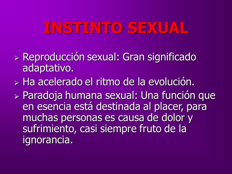 INSTINTO SEXUAL Reproducción sexual: Gran significado adaptativo.