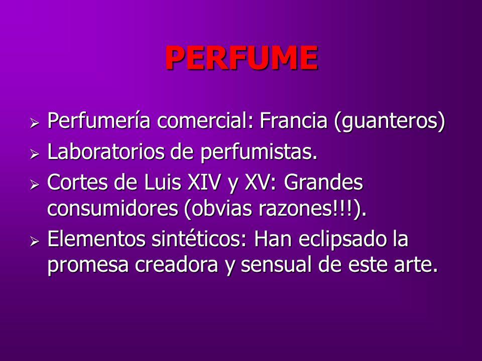 PERFUME Perfumería comercial: Francia (guanteros)