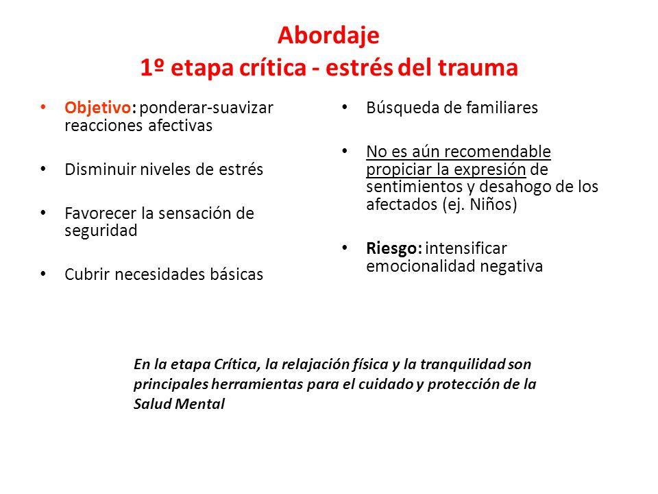 Abordaje 1º etapa crítica - estrés del trauma