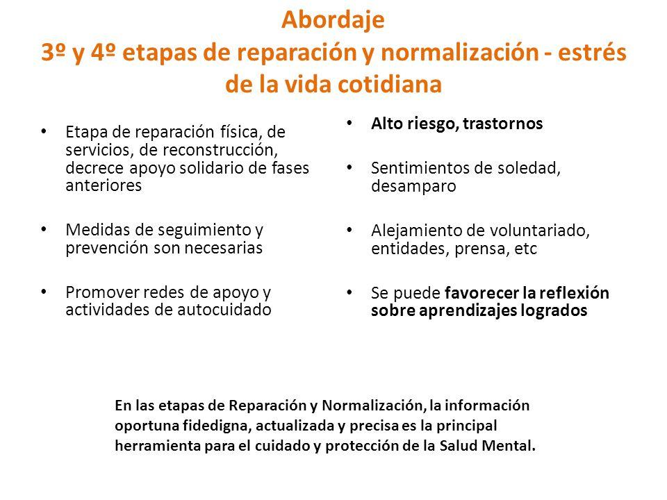Abordaje 3º y 4º etapas de reparación y normalización - estrés de la vida cotidiana