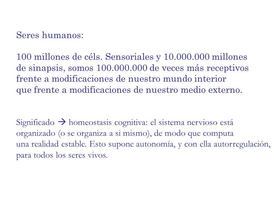 Seres humanos: 100 millones de céls. Sensoriales y 10.000.000 millones. de sinapsis, somos 100.000.000 de veces más receptivos.