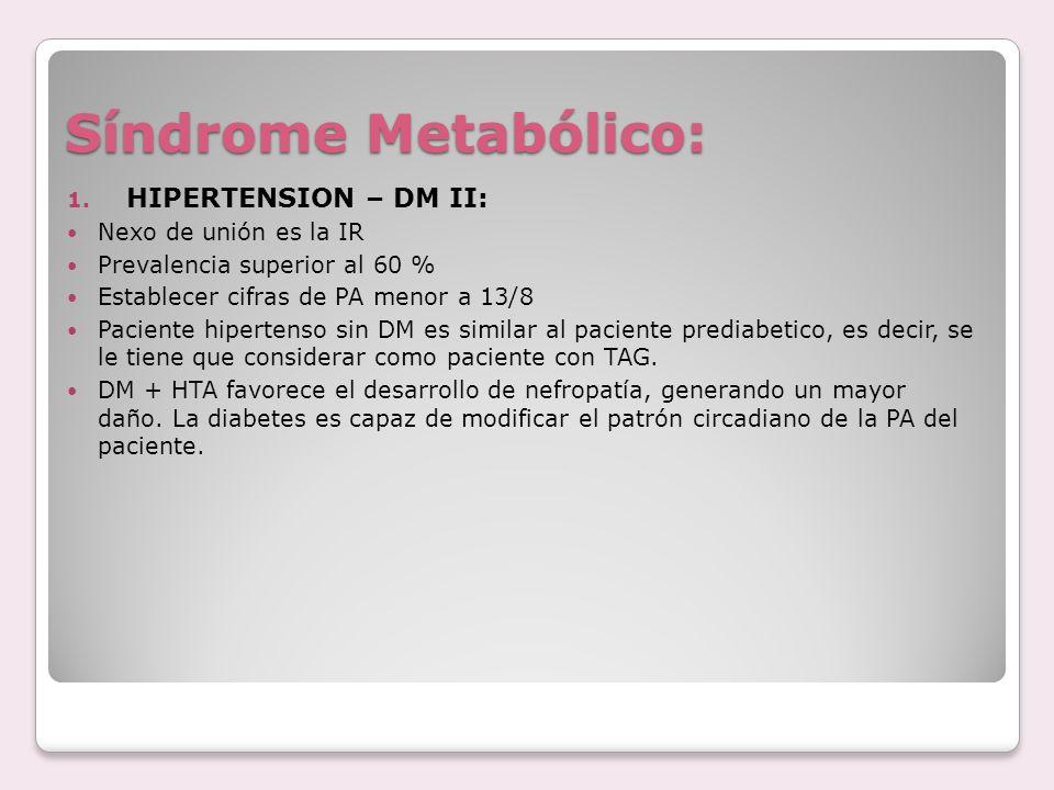 Síndrome Metabólico: HIPERTENSION – DM II: Nexo de unión es la IR