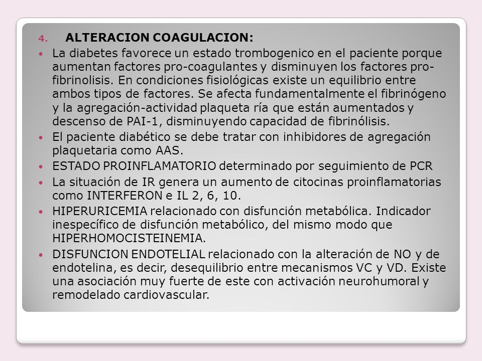 ALTERACION COAGULACION:
