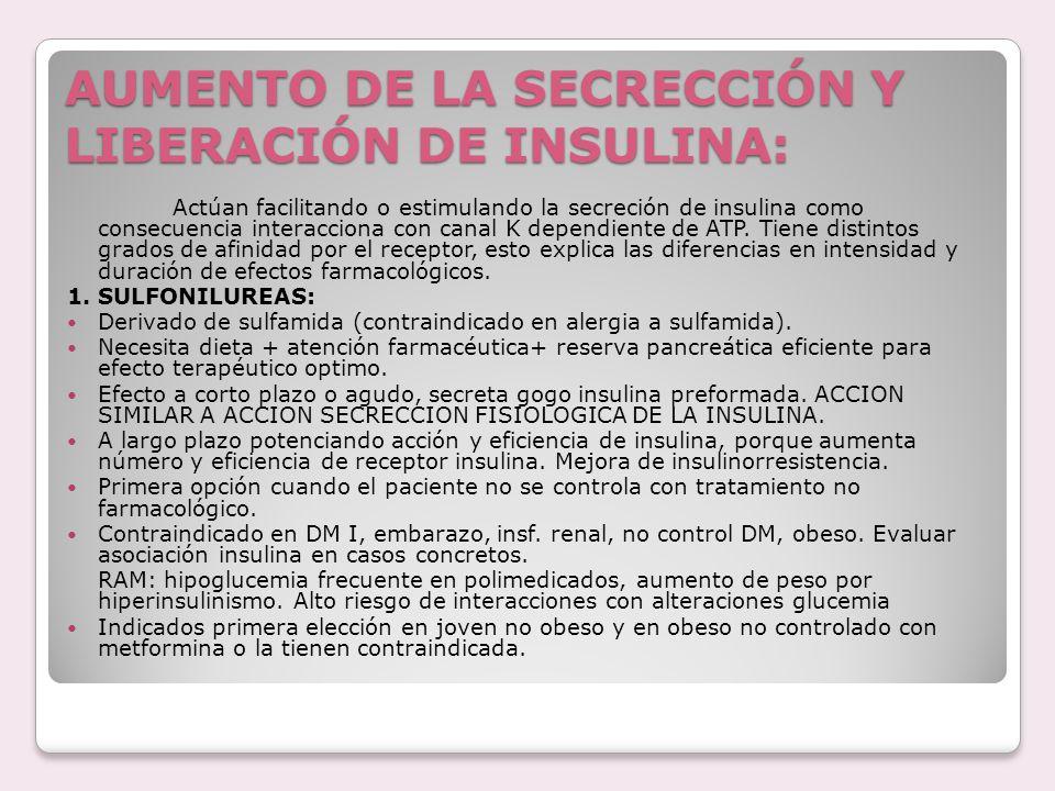 AUMENTO DE LA SECRECCIÓN Y LIBERACIÓN DE INSULINA: