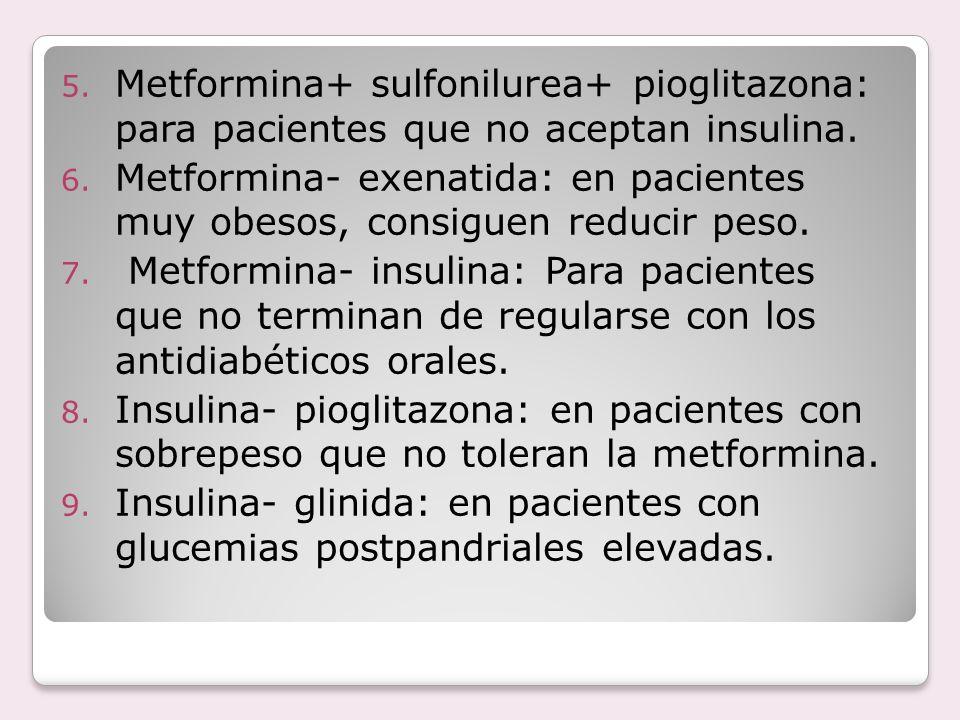 Metformina+ sulfonilurea+ pioglitazona: para pacientes que no aceptan insulina.