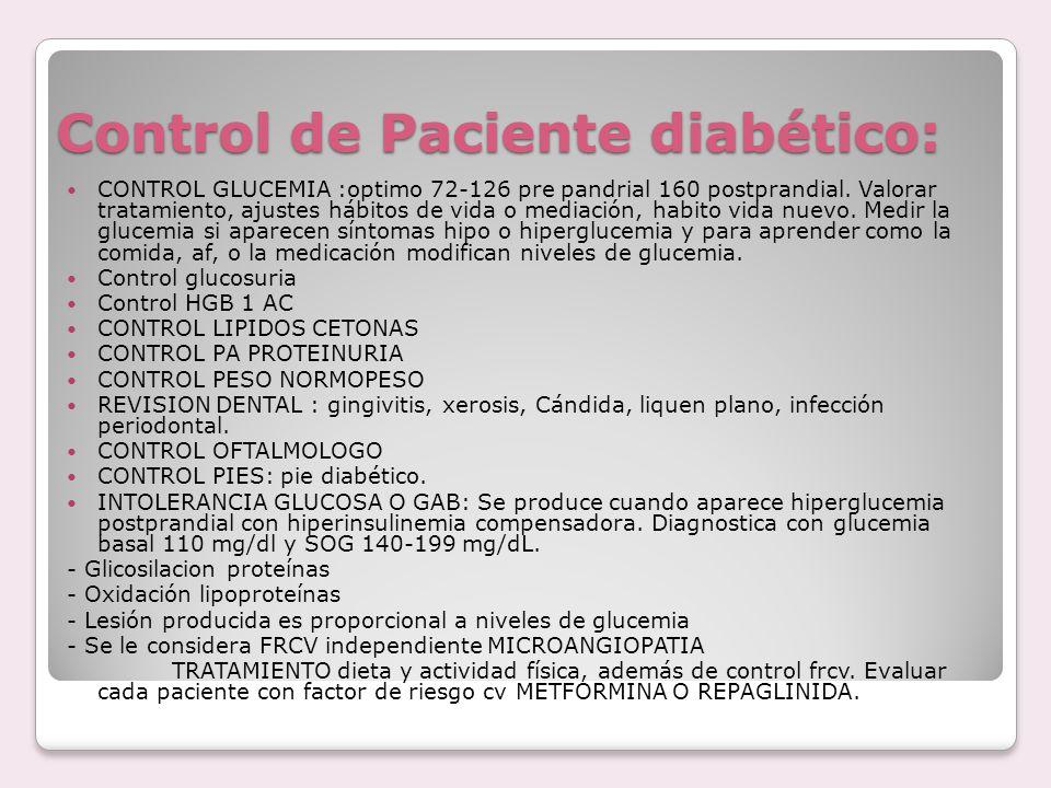 Control de Paciente diabético: