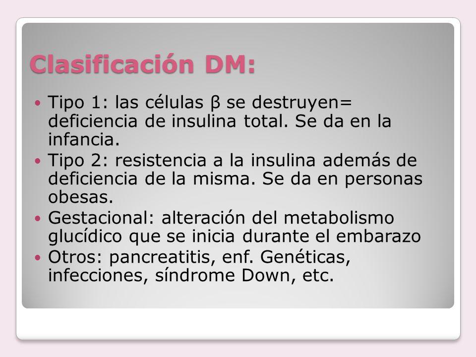 Clasificación DM: Tipo 1: las células β se destruyen= deficiencia de insulina total. Se da en la infancia.