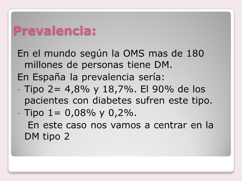Prevalencia: En el mundo según la OMS mas de 180 millones de personas tiene DM. En España la prevalencia sería: