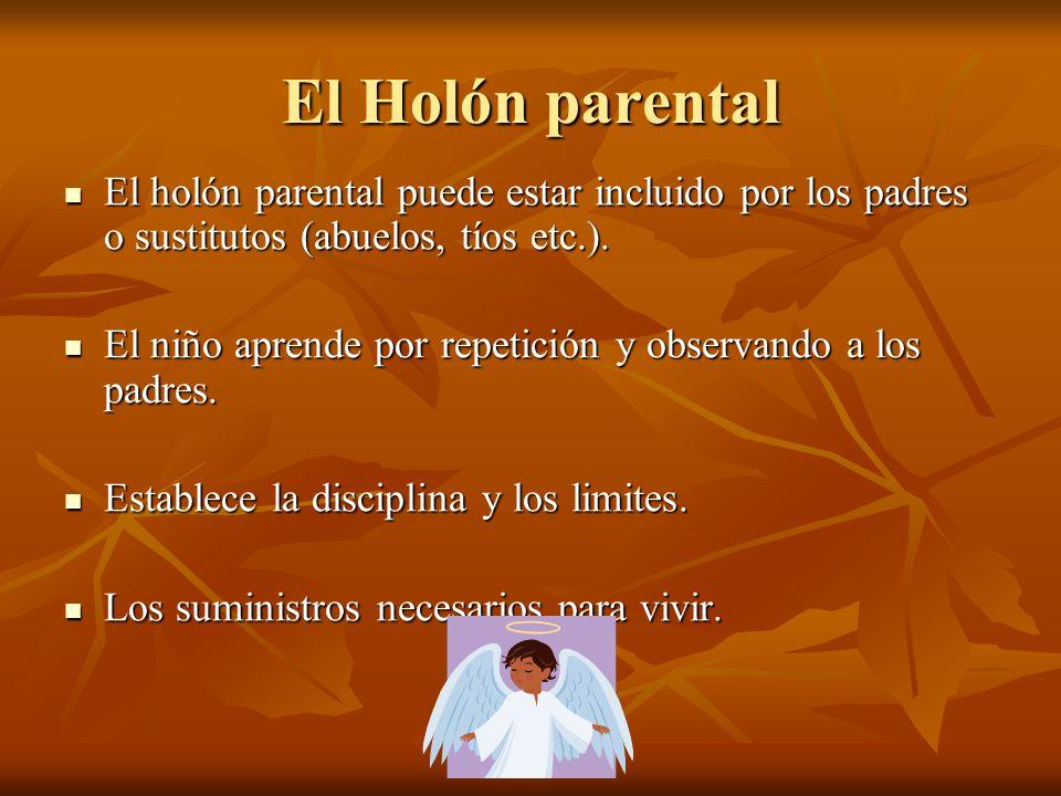 El Holón parental El holón parental puede estar incluido por los padres o sustitutos (abuelos, tíos etc.).