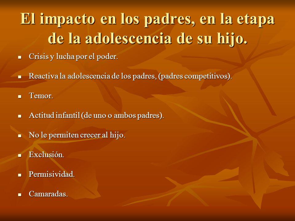 El impacto en los padres, en la etapa de la adolescencia de su hijo.