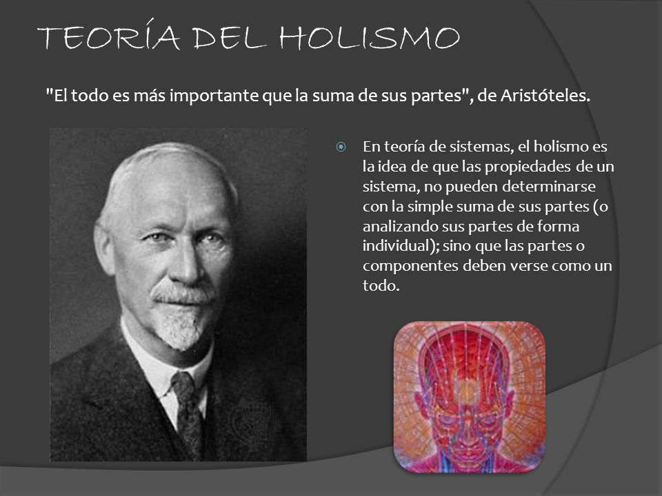 TEORÍA DEL HOLISMO El todo es más importante que la suma de sus partes , de Aristóteles.