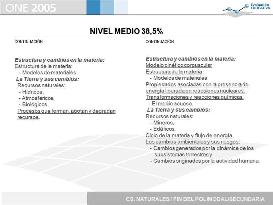 NIVEL MEDIO 38,5% Estructura y cambios en la materia: