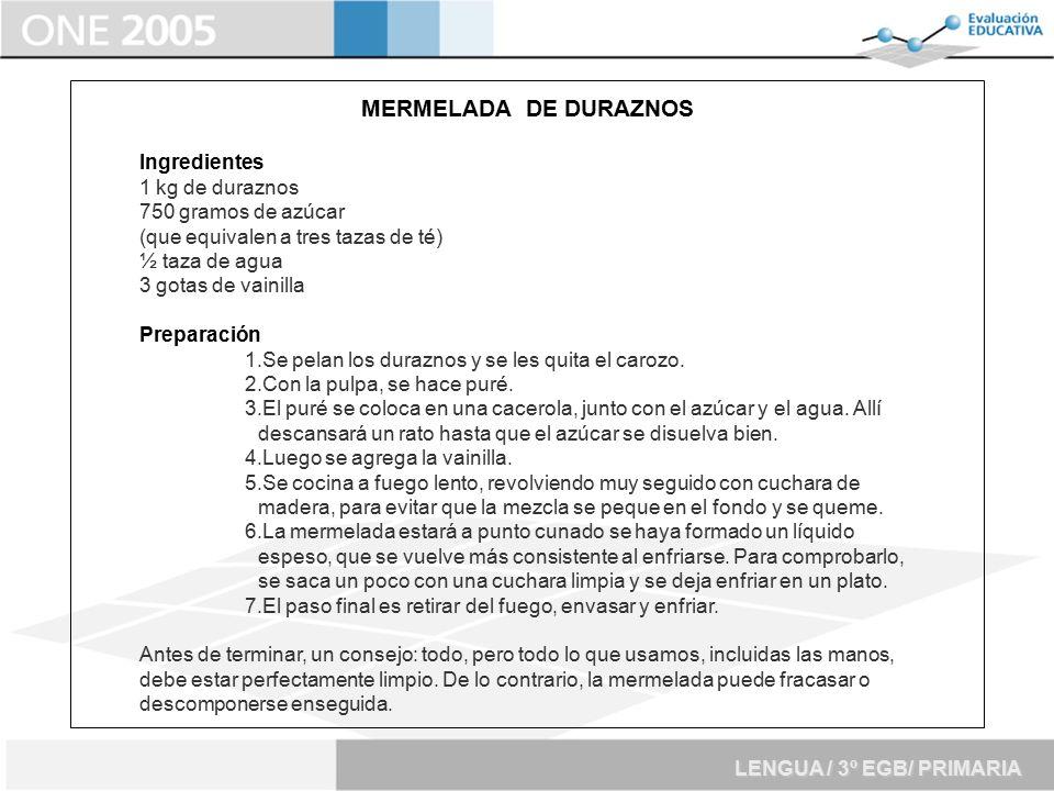 MERMELADA DE DURAZNOS Ingredientes 1 kg de duraznos
