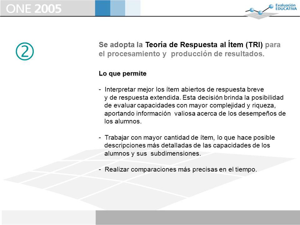  Se adopta la Teoría de Respuesta al Ítem (TRI) para el procesamiento y producción de resultados.