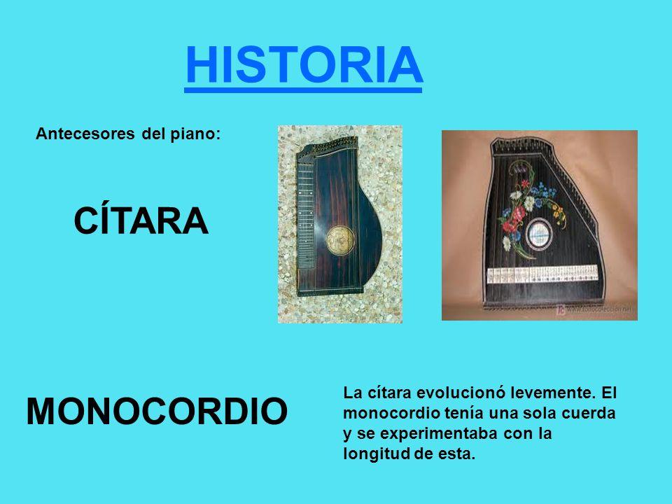 HISTORIA CÍTARA MONOCORDIO Antecesores del piano: