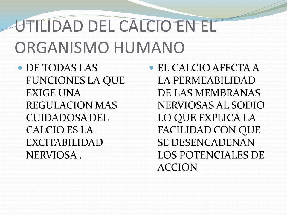 UTILIDAD DEL CALCIO EN EL ORGANISMO HUMANO