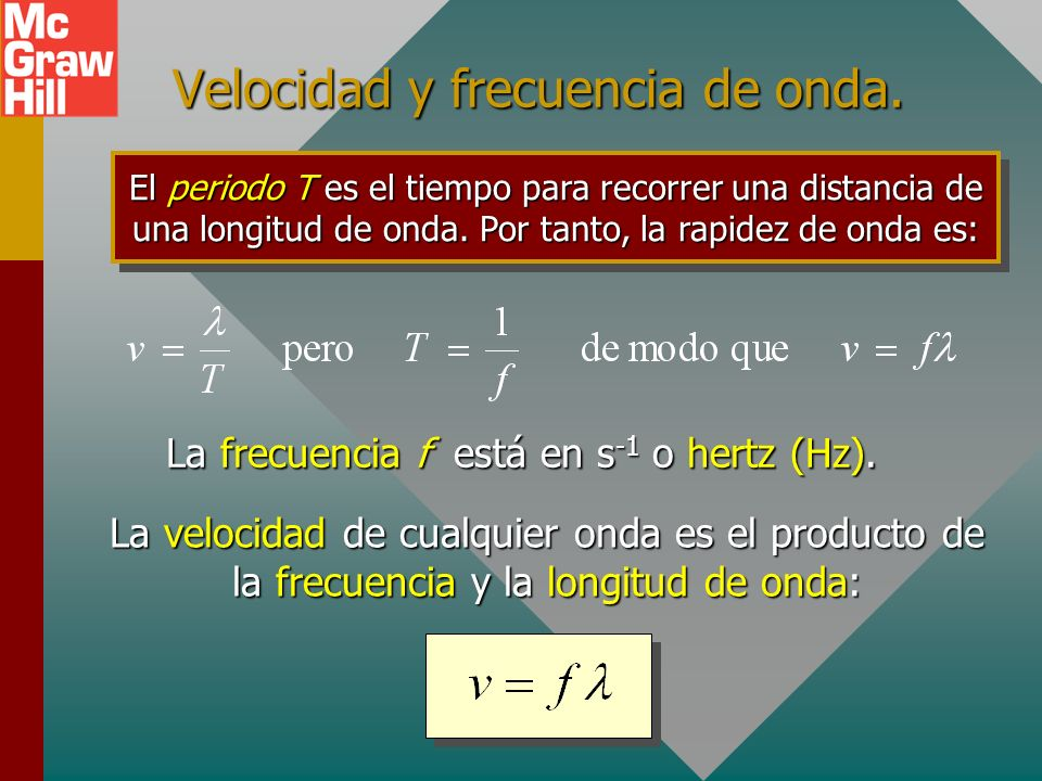 Velocidad y frecuencia de onda.