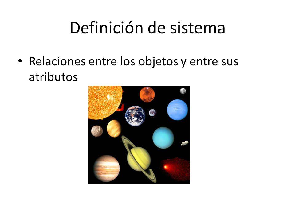 Definición de sistema Relaciones entre los objetos y entre sus atributos